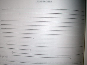 A &#039;Top Secret&#039; page from the U.S. congressional report on the 9/11 terror attacks.