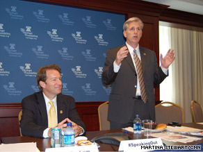 Republican Reps. Peter Roskam, left, and Kevin McCarthy, right, spoke Tuesday about a GOP initiative that allows the public to weigh in on agenda items.
