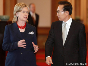 Secretary of State Hillary Clinton—in South Korea Wednesday—announced new sanctions against North Korea.