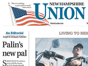 The New Hampshire Union Leader published a scathing Op-ed on the front page of Wednesday's newspaper.