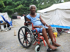 Irese Dossa, an octogenarian whose left leg was crushed by her house, then amputated, said she prays to God when it cramps up, knowing there was nothing she could do physically to alleviate the pain. Photo by Tamara Fitzpatrick