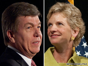 A new poll shows Republican Rep. Roy Blunt (left) leading Democrat Robin Carnahan by six points in the battle for Missouris open Senate seat.