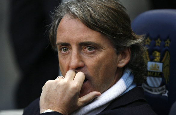 Roberto Mancini will have his work cut out to win the Premier League title this season. (Getty Images)