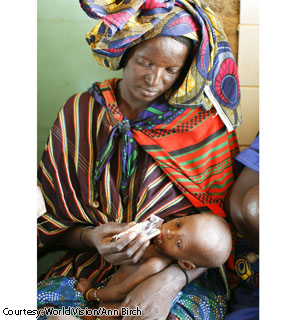 Zeinaba Abdoulaye feeds her 8-month-old daughter, Tinoumoude Guissa, with Plumpy'Nut, a read-to-use therapeutic food, at a World Vision health center in Niger. Zeinaba left her village at 6 a.m. and walked seven kilometers to bring Tinoumoude to the health center because the baby had had a fever for the past several days.  Zeinaba and her husband have two other children at home, but she says there is no millet left in the house to feed her family.