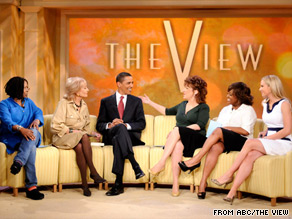  Barack Obama appeared on The View in 2008, as a Democratic candidate for president.