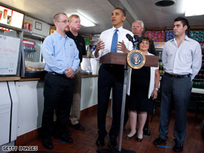 President Obama delivers a speech at a New Jersey sandwich shop.