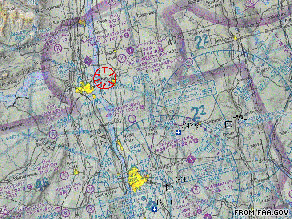 The FAA has instituted a no-fly zone (indicated by the red circle, above) over the site of Chelsea Clinton's wedding.