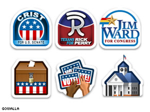 Gowalla stamps which can be obtained when checking into a political rally or event.