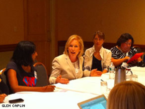 Sen. Kirsten Gillibrand meeting with bloggers at the BlogHer conference.