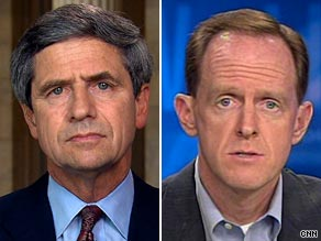 Democratic Rep. Joe Sestak (left) and Republican Pat Toomey (right) each appeared Tuesday on CNN's John King USA.