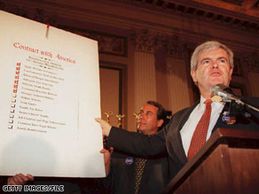 Former House Speaker Newt Gingrich led House Republicans to a stunning victory in 1994 with his 'Contract with America.'