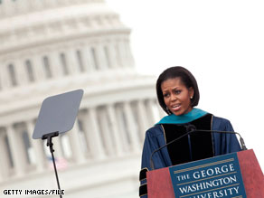 First lady Michelle Obama spoke at the 2010 George Washington University commencement ceremony.