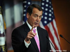 House Minority Leader John Boehner delivers an economic address Tuesday.