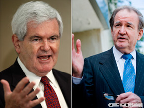  Former Republican House Speaker Newt Gingrich, left, is being criticized by conservative stalwart Pat Buchanan.