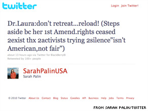 Sarah Palin is standing behind Dr. Laura Schlessinger.