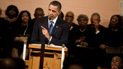 President Obama speaking in a Washington church earlier this year.