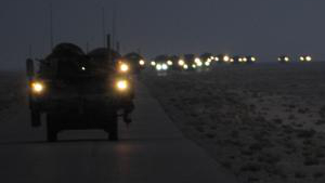 A line of Strykers convoy in the early hours of Aug. 16, 2010, as part of the 4th Stryker Brigade Combat Team, 2nd Infantry Division, United States Division-Center's last patrol through Iraq as they leave theater.