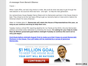 The DCCC has enlisted President Obama in a new fundraising pitch.