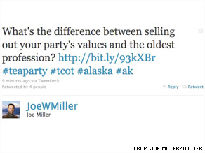 This tweet was posted and then removed from Joe Miller's Twitter account Friday afternoon.
