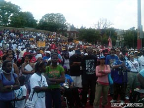 The crowd at Al Sharpton's 'Reclaim the Dream' rally in Washington.