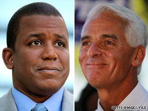 Charlie Crist and Kendrick Meek are part of a close three way race for Senate in Florida.