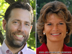 Alaska Sen. Lisa Murkowski (right) conceded her state's GOP Senate primary Tuesday to Tea Party favorite Joe Miller (left).