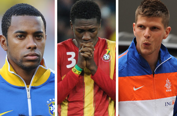 Robinho (left), Ghana&#039;s Asamoah Gyan (center) and Klaas-Jan Huntelaar (right) have all been subject to growing rumors they will be transferred before the window closes.
