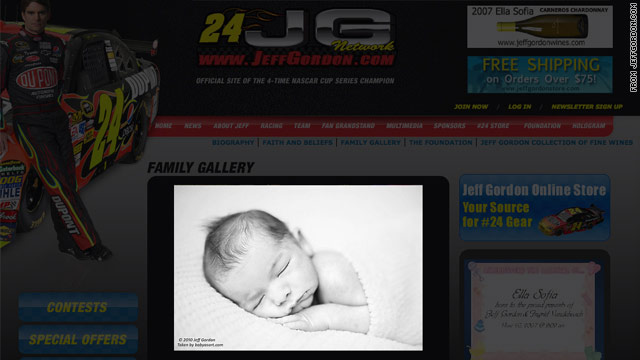 Jeff Gordon shares photos of new baby on website