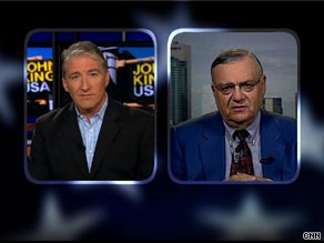  Arizona Sheriff Joe Arpaio spoke with CNNs Chief National Correspondent John King on Thursday.
