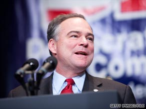 DNC Chairman Tim Kaine on Sunday defended his partys record on the economy. 