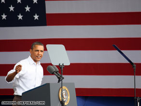 President Obama delivered a fiery speech Monday in Wisconsin.