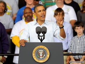 President Obama speaks at a Labor Day event in Milwaukee, Wisconsin, on Monday.