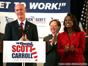 Florida gubernatorial candidate Rick Scott with his running mate, Jennifer Carroll.