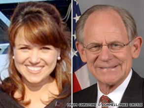  Christine ODonnell and Sen. Mike Castle are vying for the Republican nomination for Senate in Delaware.