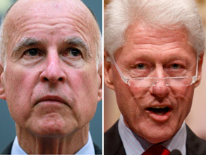 Jerry Brown apologized for a joke he made about President Clinton Sunday.