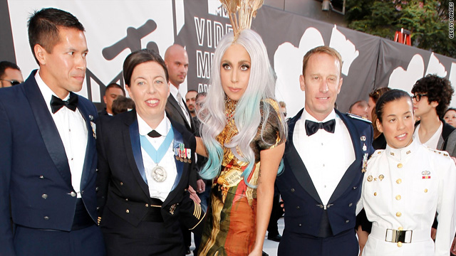 Who were the soldiers with Lady Gaga at the VMAs?