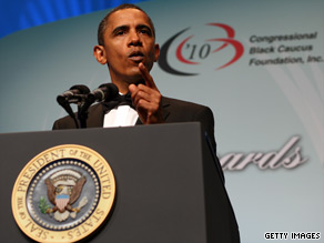 President Obama urged Congressional Black Caucus members to help rally their constituents.