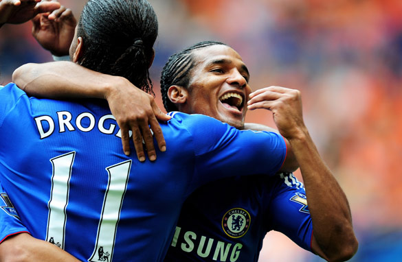 Chelsea's Florent Malouda celebrates another goal for the Blues.