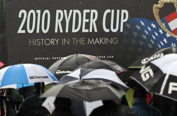 A rain-drenched Ryder Cup in the Welsh resort of Celtic Manor.