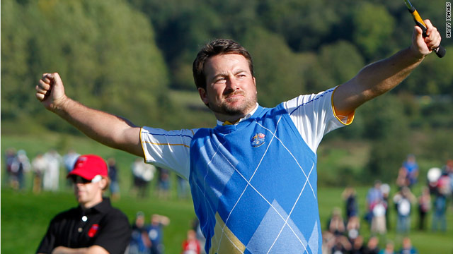 Graeme McDowell has that winning feeling after beating Hunter Mahan in their crucial singles match at Celtic Manor.
