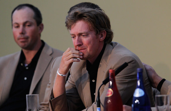 Hunter Mahan fights back the tears after the U.S. team lose on a dramatic final day against Europe.