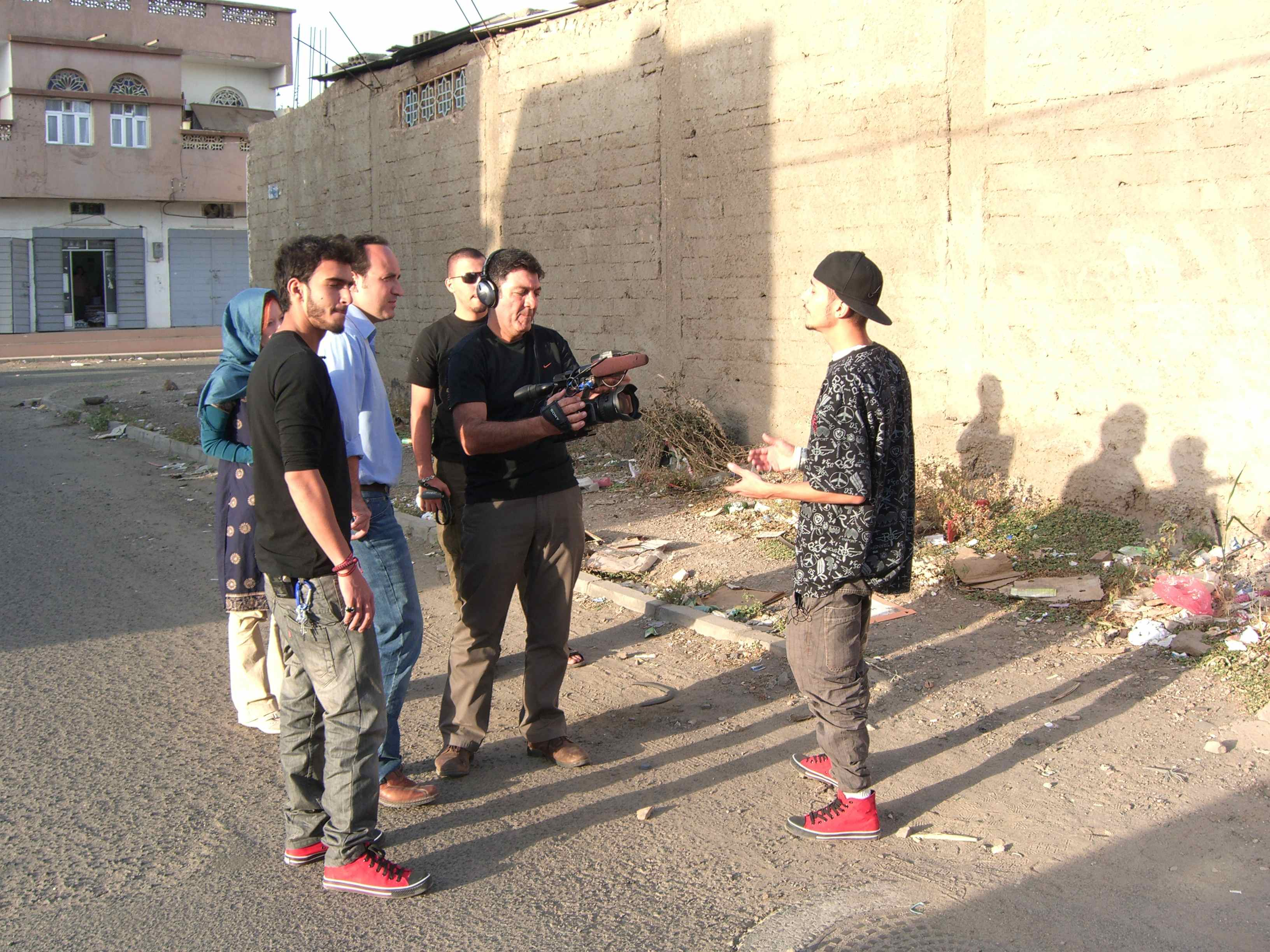 Photo CNN/Dane Kenny. Mohammed Jamjoom, producer Gena Somra and cameraman Farhad Shadravan interviewing rapper/producer Nadeem. Also in the picture is rapper Ziad.