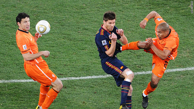 Nigel de Jong's chest high tackle on Xabi Alonso in the World Cup final was widely condemned.