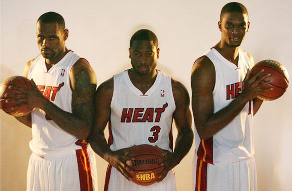 (From left to right) LeBron James, Dwayne Wade and Chris Bosh form a formidable trio for the Miami Heat this season.