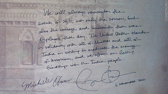 President and Mrs. Obama sign the 26/11 condolence book