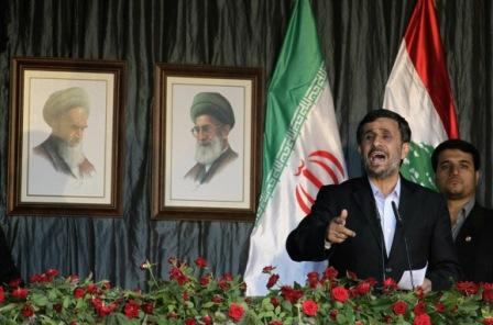 President Mahmoud Ahmadinejad addresses a mass rally in the southern Lebanese border town of Bint Jbeil (Getty Images)