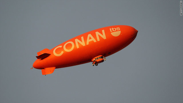 'Conan' blimp finds its way to 'Tonight Show' studio