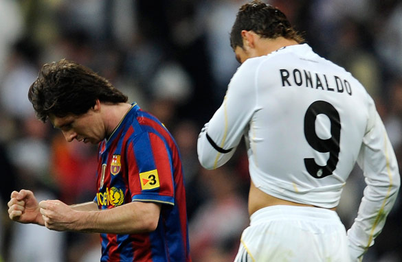 Cristiano Ronaldo (R) and Lionel Messi go head to head when Barcelona play Real Madrid.