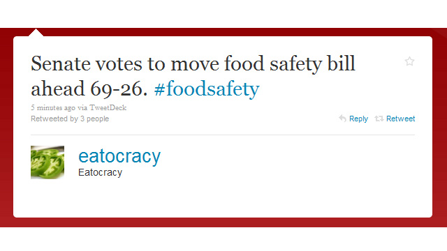 Senate cloture vote moves FDA food safety bill forward
