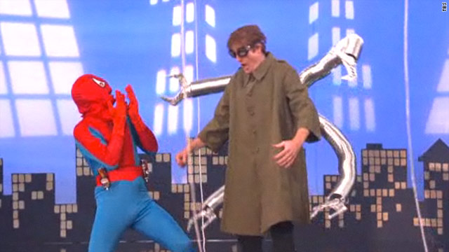 Conan spoofs 'Spider-Man' musical, gets flowers